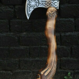Wolf Engraved Battle Ready Viking Axe AX-13-1