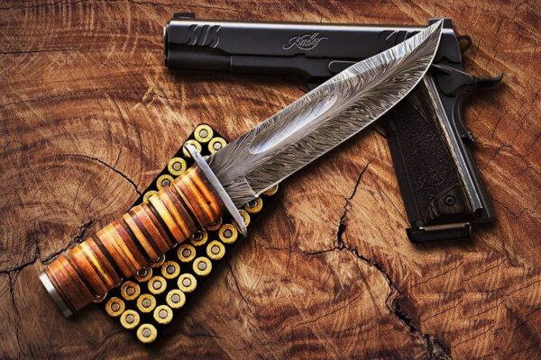 Damascus Kabar - Ka-bar Knife For Sale HK-05